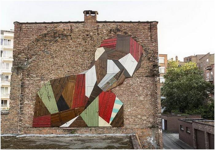Деревянные граффити бельгийского художника