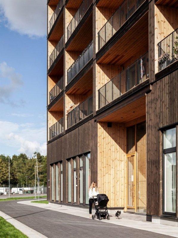 В Швеции построили многоэтажный дом из дерева